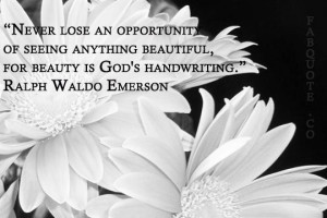 Ralph waldo emerson beauty is gods handwriting quote