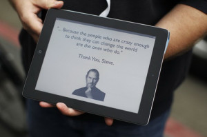 ... message in memory of Apple founder Steve Jobs, in San Francisco