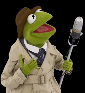 Photo puppet of Reporter Kermit used for the Silly Storytime DVD.