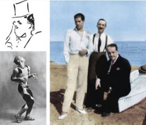 Diaghilev drawn by Jean Cocteau; Serge Lifar, Walter Nouvel, and ...