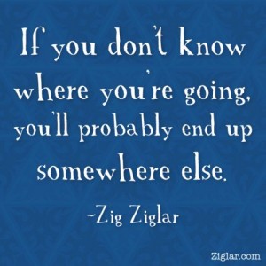 If you don't know where you're going, you'll probably end up somewhere ...