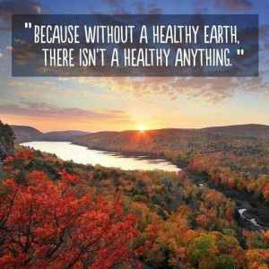 Without a healthy Earth, there isn't a healthy anything.