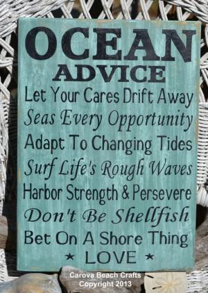 Beach Wedding Sign Beach Decor Beach House Ocean Advice Hand Painted ...
