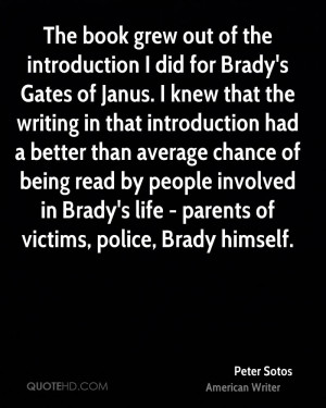 The book grew out of the introduction I did for Brady's Gates of Janus ...