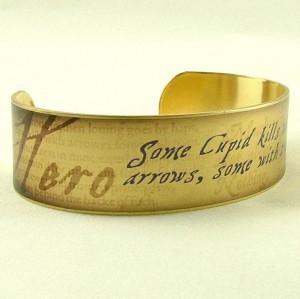 ... Quote by Hero - William Shakespeare Quote Jewelry - Slim Brass Cuff