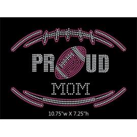Proud Football Mom Rhinestone Transfer