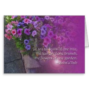 Beautiful Baha'i Unity Quotation Card card
