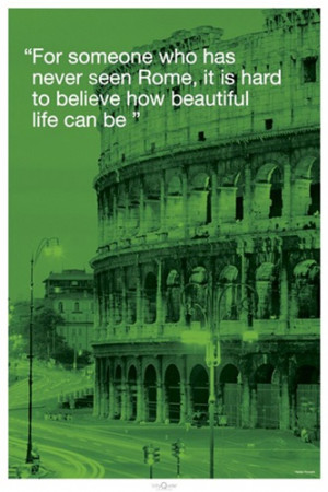Rome Italy Colosseum City Quote Travel Poster
