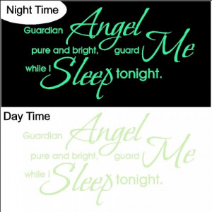 Glow in the Dark Guardian Angel Decal...Nursery Wall Quotes Words ...