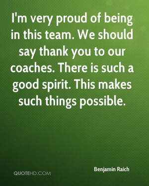 very proud of being in this team. We should say thank you to our ...