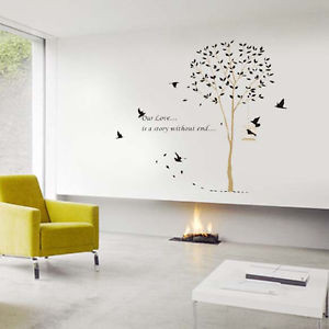 Big BIRD&CAGE Vinyl Wall Art Deco Sticker Decal Romantic Quotes Love ...