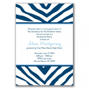 Cool Zebra Graduation Invitations: Navy and Light Blue