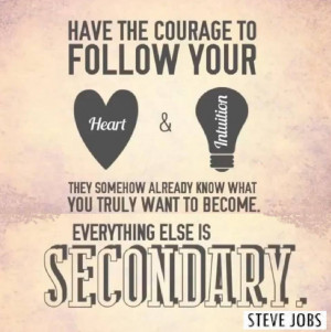 Have the courage to follow your heart and intuition - Steve Jobs quote