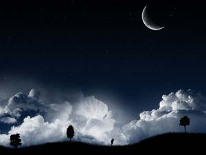Starry Night with Half Moon and The Boy HD Wallpaper