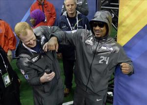 Jan 28, 2014; Newark, NJ, USA; Seattle Seahawks running back Marshawn ...