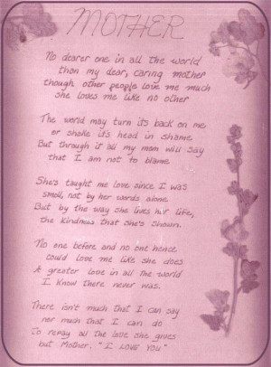 Poem penned for Mom in 1981 (I was 22 years old)