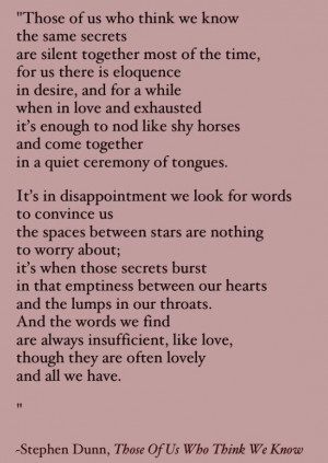 it's in disappointment we look for words ...