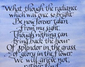Memorial, Custom, Splendor in the Grass Poem, Handwritten 11 x 14 on ...