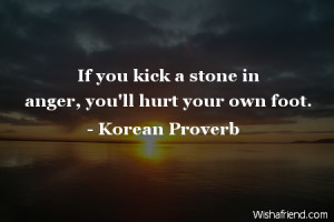 anger-If you kick a stone in anger, you'll hurt your own foot.