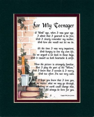 for my teenager a gift for a teen son or daughter touching 8x10 poem ...