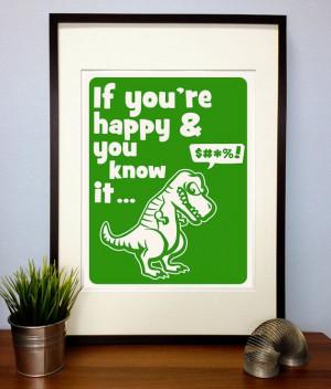 Funny T-Rex Poster Print Quote - T-Rex cant clap Dinosaur Letterpress ...