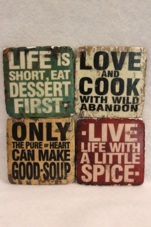 Cooking Quotes Stone Tile Coaster - $5 each or $18 for set of four ...