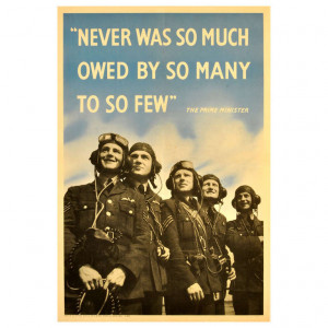 ... of Britain poster featuring RAF Pilots and a Winston Churchill Quote