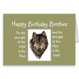 Custom Brother Birthday Wolf Pack Family Quote Card