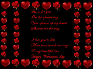 valentine's day heards and flowers poem card