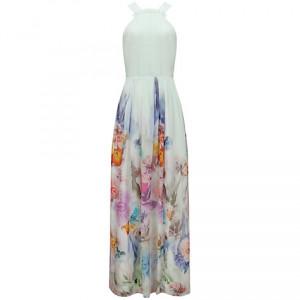 Ted Baker Calipso Butterfly Print Halterneck Maxi Dress Cream