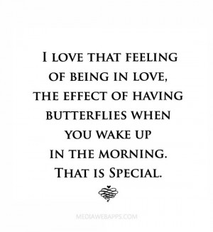 love that feeling of being in love, the effect of having butterflies ...