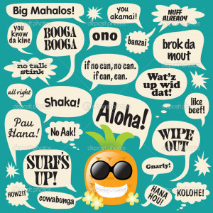 Phrases in comic bubbles (Hawaii) - Stock Illustration
