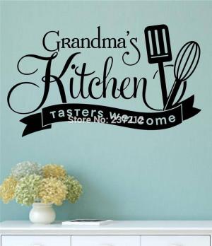 Grandma's Kitchen Tasters Welcome Vinyl Wall Decals Sticker Words ...