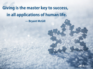 Giving is the master key to success, in all applications of human life ...