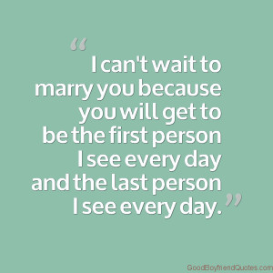 Can't Wait to Marry You