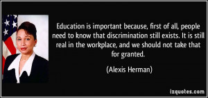 Education is important because, first of all, people need to know that ...