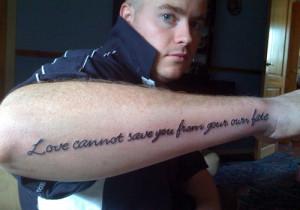 rock band the doors got the lyrics tattooed on his forearm as a mark ...