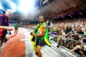 ... camera of silver medallist Yohan Blake after the men's 200m final