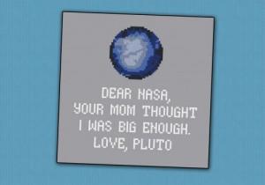 funny Pluto quote cross-stitch pattern