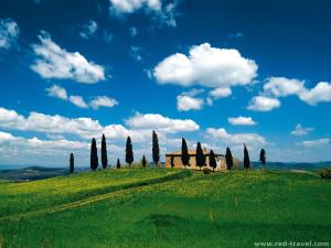 Tuscany landscape springtime beautiful weather