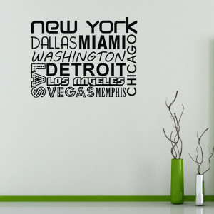 New York funny words Vinyl Removable Wall Sticker Quotes Home Decor ...