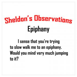 CafePress > Wall Art > Posters > Sheldon's Epiphany Quote Poster