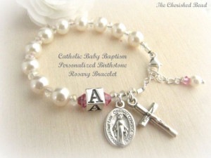 Personalized Birthstone Catholic Baby Baptism Bracelet with Initial ...