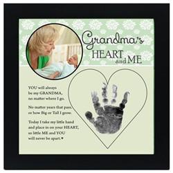 Grandmas Heart and Me Hand Print Picture Frame
