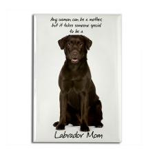 Chocolate Lab Mom Rectangle Magnet for