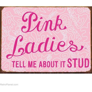 Grease Movie Pink Ladies Sign Tell Me About It Stud Metal Signs ...