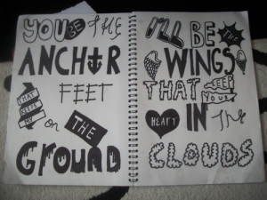black and white, drawing, love, lyrics, mayday parade, notebook