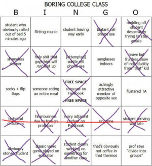 Boring College Class Bingo (The Campus Companion) Tags: school class ...
