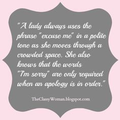 The Classy Woman} Classy Tip of the Week: Navigating a Crowd #manners ...