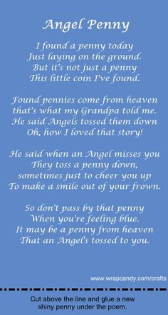 angel pennies from heaven | Angel Penny Gift Poem and Card | Wrapcandy ...